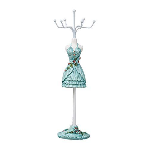 Cupcinu Ohrring Rack Schmuck hängende Halskette Organizer Stand Ohrring Halter Ohr Stud Lagerung Regal Ring Kleiderbügel mit Harz Tuch 1pcs (Lake Blue)