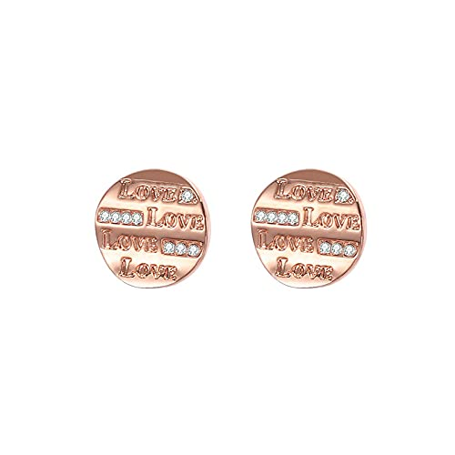 OUMIFA Pendientes Nuevos Pendientes de Letras de Diamante Pendientes Redondos Pendientes nuevos Pendientes Accesorios Pendientes de botón para Mujer (Type : B)