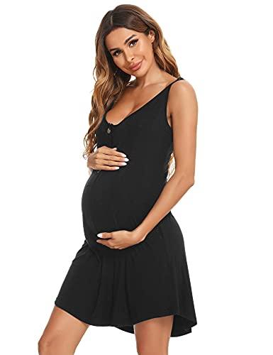Aibrou Camisón Lactancia Algodón Mujer Ropa de Dormir Premamá Hospital Vestido de Maternidad ,Camison de Tirantes para Embarazadas,Negro,L