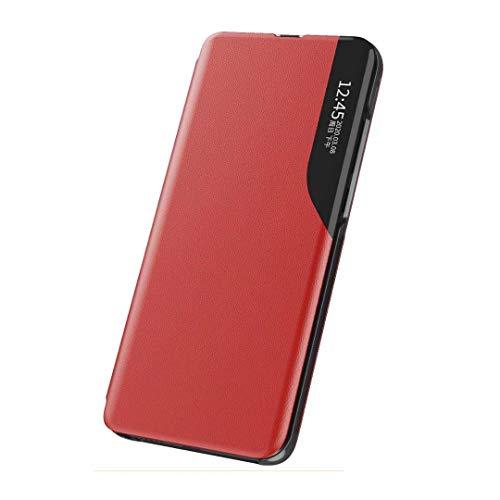 Coque Funda para Samsung Galaxy A22 5G/4G, Pantalla Lateral Inteligente pequeña Ventana móvil Carcasa Protectora a Prueba de Golpes TPU Ultra Delgada Carcasa para Samsung Galaxy A22 5G/4G Color Rojo
