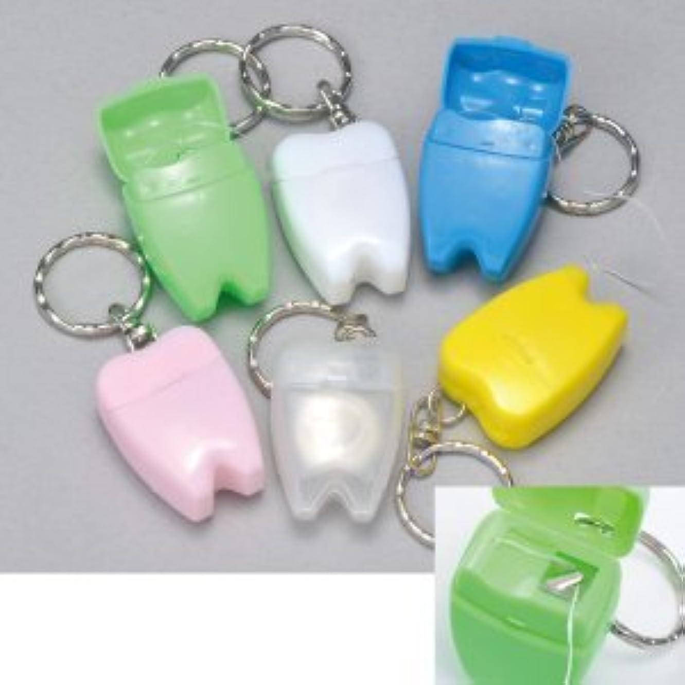 征服者繰り返し人間歯型デンタルフロス キーホルダー 1個 (さくら色)