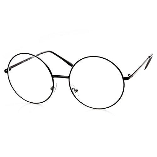 TRIXES Brille mit Rundgläsern in Kupfer - Beatles Retro Sechziger Jahre Stil Klarglas Gläser - Runde Brille als Kostümergänzung Cosplay Retro-Partys Geek Gläser Zubehör - Klassische Vintag