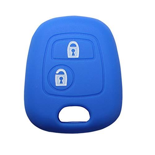 YLC Protector de Llave de Coche de Silicona Car Key Cover Skin Jacket para Llave Peugeot & Citroen 2 botón(Navy Blue)