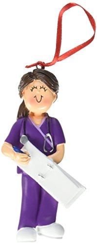 Ornament Central OC-230-FBR Female Scrubs Nurse Christmas Ornament, 4-1/4-Inch, Purple