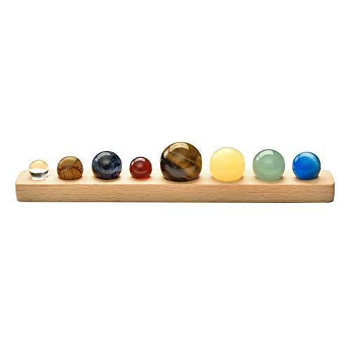 CrystalTears - Decorazione Universale otto pianeti, sfere di pietra ornamentali, sistema solare fatto a mano, decorazione per la casa