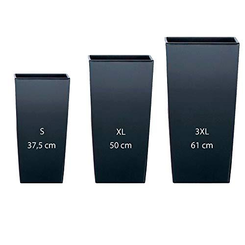 Wellhome Set di 3 vasi alti Prosperplast (11,4 26,6 49 litri) Urbi Square in plastica color antracite con deposito, scuro, grande