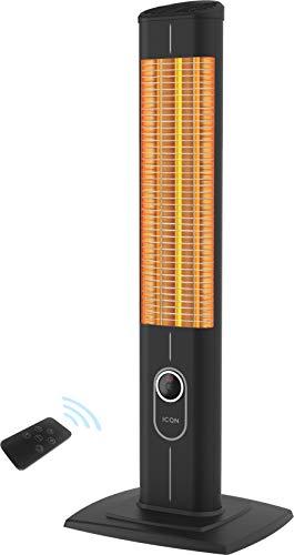 ICQN IC1800.RB Verwarmingsstraler, 1800 watt, met afstandsbediening, infarotverwarming voor terras en woonkamer, staande verwarming, staand apparaat