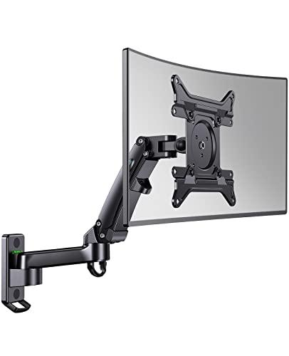 HUANUO Soporte de pared para monitor LCD LED de 24 a 35 pulgadas, soporte de pared para TV con brazo de resorte de gas ajustable de movimiento completo, VESA 75/100/200 mm, capacidad de carga 3-12 kg