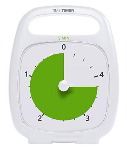 Time Timer PLUS 5 Minute Visueller Analog Timer (Weiß) Optionaler aktustischer Alarm (Lautstärkeregler) Kein lautes Ticken; Zeitmanagement-Tool, TT05-W