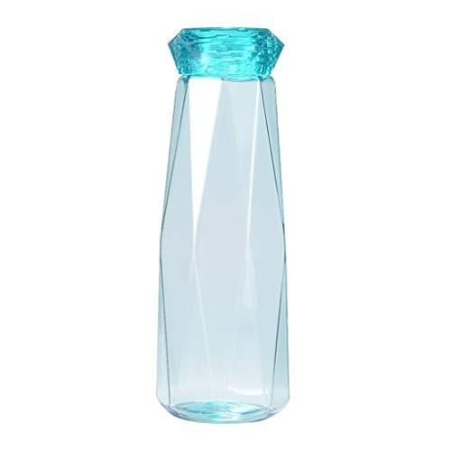 ShiftX4 Botella de agua con tapa de diseño de diamante, a prueba de fugas, taza de viaje de plástico plana, para deportes, viajes, picnic, camping, fitness y gimnasio, botella de bebida portátil