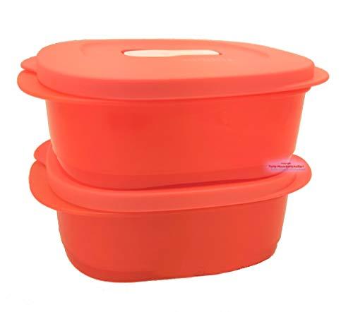 Tupperware® CrystalWave 2X 500 ml lachs-rot Mikrowelle Kühlschrank Brotdose Lunch-Box tolle Neuheit! NEU