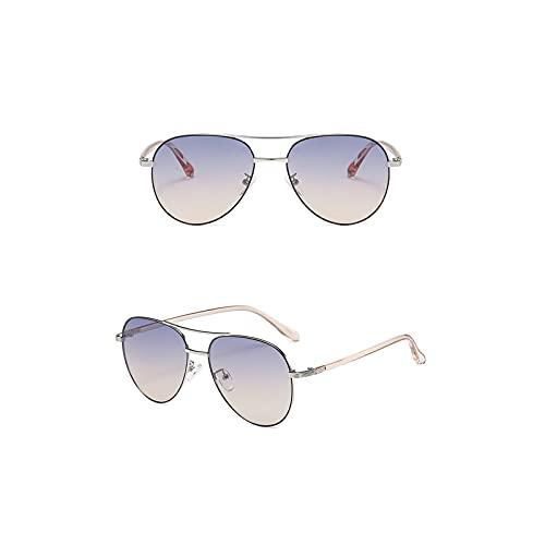 Aetygh Gafas de Sol de Moda para Mujeres y Hombres Aviator Gafas de Sol Lente Redonda UV400 (Color : C1, Size : 57mm)