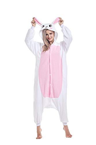 ABYED® Kostüm Jumpsuit Onesie Tier Fasching Karneval Halloween kostüm Erwachsene Unisex Cosplay Schlafanzug- Größe M - für Höhe 156-163CM, Hase