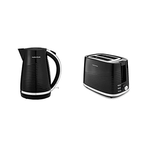 Morphy Richards 108266 Jug Kettle Dune, Plastic, 3000 W, 1.5 liters, Black & 220026 Dune 2 Slice Toaster Defrost and Re-Heat Settings, Plastic, Black