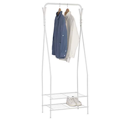 WOLTU Kleiderständer Garderobenständer Kleiderstange Schuhregal Metall mit 2 Metallablagen für Schuhe, Weiss, ca. 58,5x32x158cm(BxTxH) SR0074ws