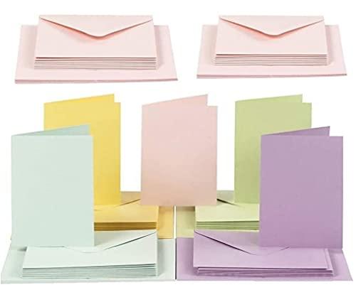 Sobres de color, C6 pastel, Colores surtidos, 50 piezas Sobres de 11,5x16,5 cm y 50 piezas Tarjetas 10,5 x 15, EMI Craft