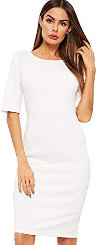 SheIn Women s Short Sleeve Elegant Sheath Solid Pencil Bodycon Dress Small White product image