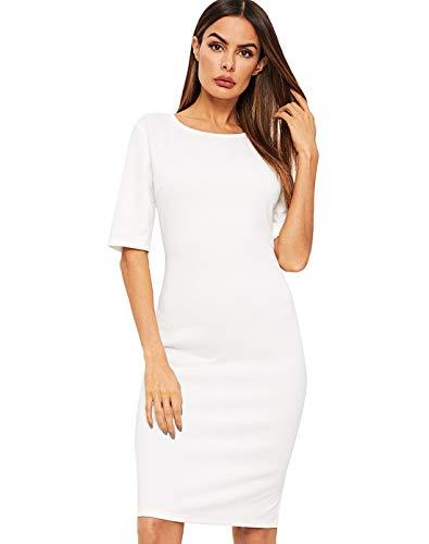 SheIn Women's Short Sleeve Elegant Sheath Pencil Dress X-Small White