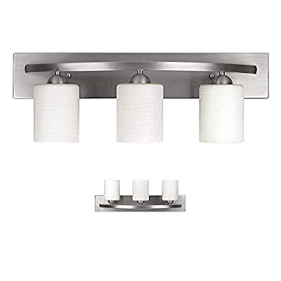 """Vanity Bath Light Bar Interior Lighting Fixture (Brushed Nickel, 3 Lights) - SIMPLE AND MODERN STYLE - The aesthetically constructed vanity light brings a modern style to your bathroom.The Brushed Nickel finish is partnered with the Line paintedglass to work with a wide range of home decor. UP/DOWN WALL MOUNT LIGHTING - DIY, Install the light with glass shades up or down to light up every corner of your room. STANDARD SIZE FOR YOUR VANITY SETUP - The vanity light bar measures 24"""" width, 8.5"""" height, 7"""" depth. It is easy to install into standard electrical box with included mounting hardware. Requires 3 100W (or equivalent) Type A light bulbs (LED, CFL, Halogen, or Incandescent) – not included - bathroom-lights, bathroom-fixtures-hardware, bathroom - 31tB3mt9rGL. SS400  -"""