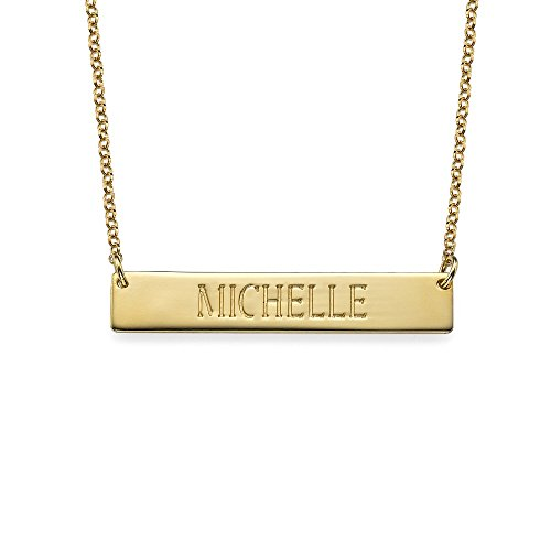 Plat Bar Personalized Engraved Name Necklace Gold Plated -Custom Any Message- Women Mon Horizontal Pendant