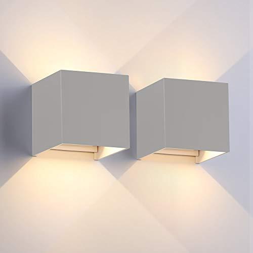 2er Set LED Wandleuchte Außen Wandlampe Wasserdicht Mit Einstellbar Abstrahlwinkel IP65 LED Wandbeleuchtung Innen & Außen (Grau Eckig, 7W Warmweiß)