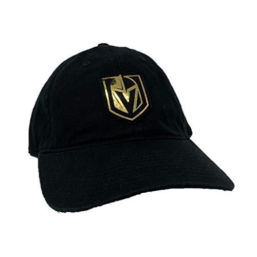 American Needle Vegas Golden Knights Metallic Logo Blue Line Twill Adjustable Dad Hat Black