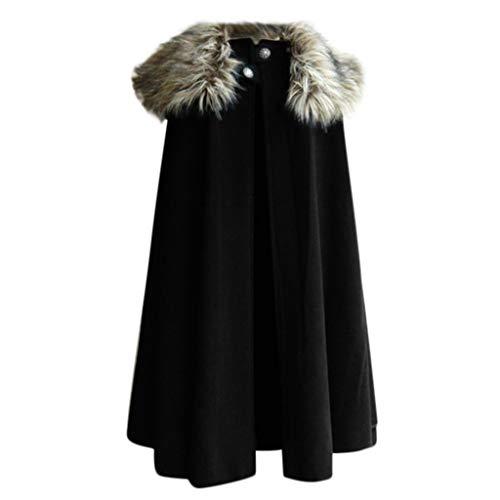 FRAUIT Lange Winter Wollmantel Herren Keltische Wolle Poncho Cape Coat Vintage Pelzkragen Gothic Umhang Jacke Game of Thrones Kleidung Top Herbst Outwear Bluse Windbreaker Warm Bequem