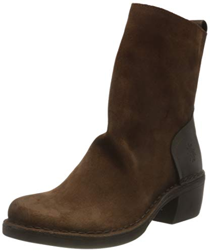 FLY LONDON MOBA032FLY, Botte mi-Mollet Femme, Camel/Dark Brown, 36 EU