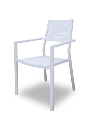 SLAAP - Silla de Comedor para jardín DHC1760 Aluminio Blanco.Medidas 58x56x88cm