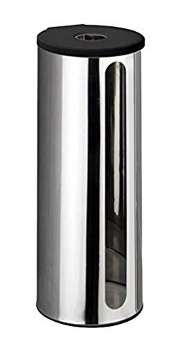 WENKO Turbo-Loc® Edelstahl Ersatzrollenhalter Detroit - Wand WC-Ersatzpapierrollenhalter für 3 Rollen, Befestigen ohne bohren, Edelstahl rostfrei, 13.5 x 36 x 14 cm, Glänzend