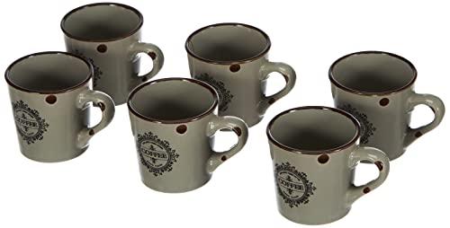 H+H Vintage Set Espressotassen, Keramik/Tellern, weiß/Taupe, 6Einheiten