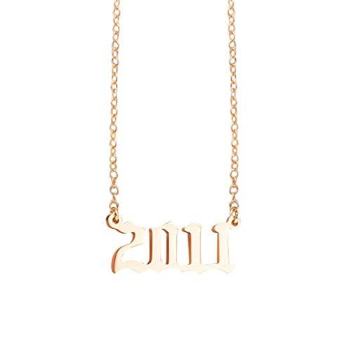 Yowablo Halskette 1990-2009 Anhänger Geburtstagsgeschenk Personalisierte Kragen Gold Jahre Nummer (3B)