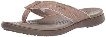 Crocs Santa Cruz Canvas Flip Flops   Sandals for Men Khaki/Walnut 8