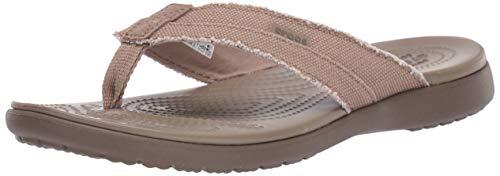 Crocs Santa Cruz Canvas Flip Flops | Sandals for Men, Khaki/Walnut, 11