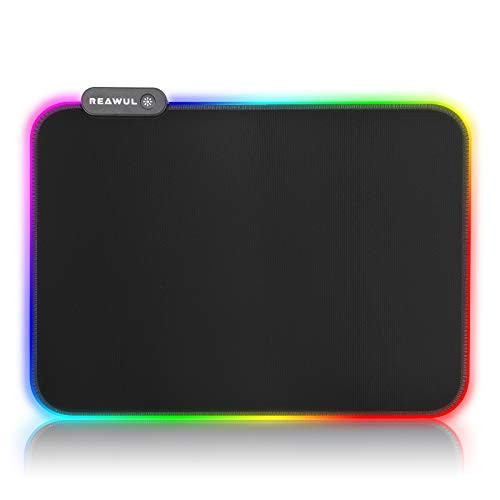 RGB Gaming Mouse Pad - REAWUL 14 Modes Glowing Led Mousepad, Anti-Slip Rubber Base and Waterproof Surface,Soft Led Computer Keyboard Mouse Mat - 14.1 x 9.8in Black