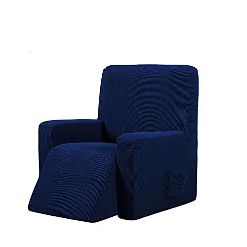 Fuerza Elástica Cubierta Reclinable Usado para Sillón Relax, Poliéster Antideslizante Juego De Sofás Dos Funda para Sillón TV Impermeable Elástica Protector-Azul Marino