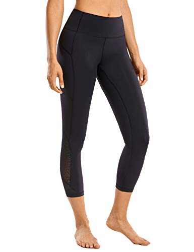 CRZ YOGA Leggins Mujer Deportivos Bolsillos de la Pretina Yoga Pantalones Patas de Malla de Rejilla-53cm Negro 40
