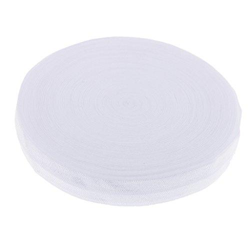 Colaxi Cotton Elastic Band Tape Headband Bra Strap Dress Sewing Trim 10.9 Yard 15mm - White