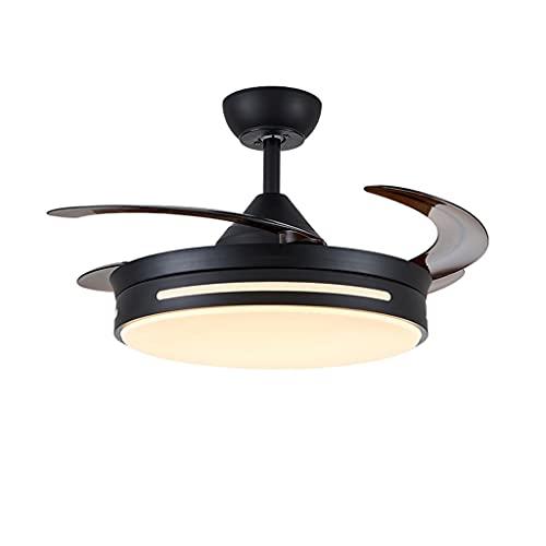 Ventiladores para el Techo con Lámpara Luces del ventilador de techo retráctil DC Motor de techo Ventilador de techo Interruptor remoto de 6 velocidades 3 Color Bajo ruido puede tiempo Ventilador para