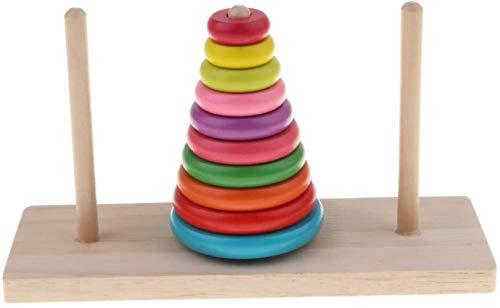 LIUJING 10 Anelli Torre di Hanoi in Legno Puzzle Rompicapo, Puzzle precoce educazione Giocattolo dei Bambini Hanoi Torre di Legno Toy rompicapi - Moda