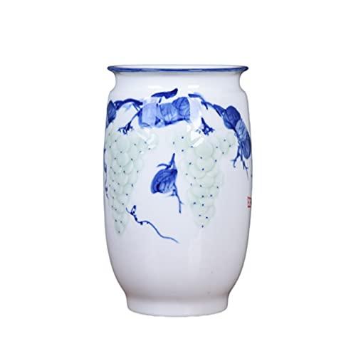 rzoizwko Jingdezhen - Jarrón de Porcelana cilíndrico Lotus de Porcelana Azul y Blanca clásica, 13 Pulgadas (33 cm) de Alto