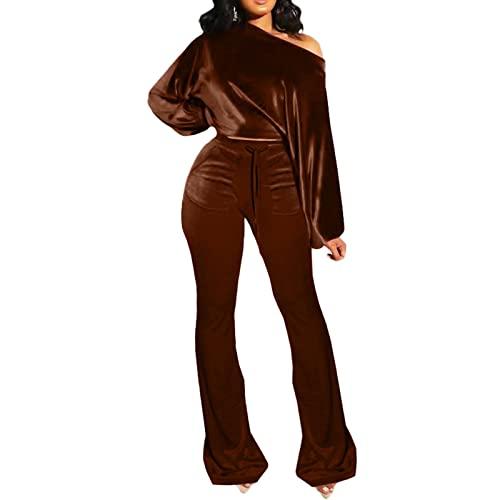 BSaogr Traje de ocio transpirable para mujer, para otoño, color sólido, manga larga, hombros inclinados y pantalones acampanados, café, S