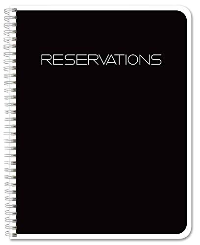 """BookFactory Reservations Book, 365 Day Table Reservations, Restaurant Dinner Reservations 120 Pages, 8.5"""" x 11' Black, Wire-O (LOG-120-7CW-PP-(Reservations))"""