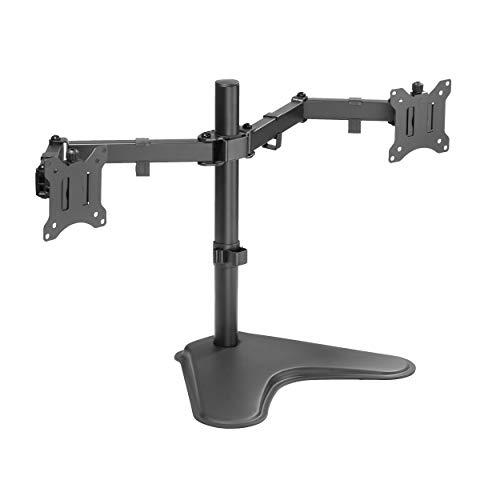 Halter Double Monitor Stand for Desk, Freestanding Dual Monitor Setup, VESA Monitor Stand, Adjustable Monitor Arms for 2 Monitors, Screen Size from 17, 24, 27, and 32 Inch Curved or Flat Screen, Black