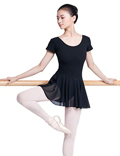 Daydance Black Women's Ballet Leotards Short Sleeve Ballet Dress for Adult