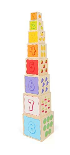 Small Foot 11079 by Legler Stapelwürfel 8 teilg Tiere Verkehr Früchte & Zahlen solide gearbeitet aus Holz Spielzeug, Mehrfarbig