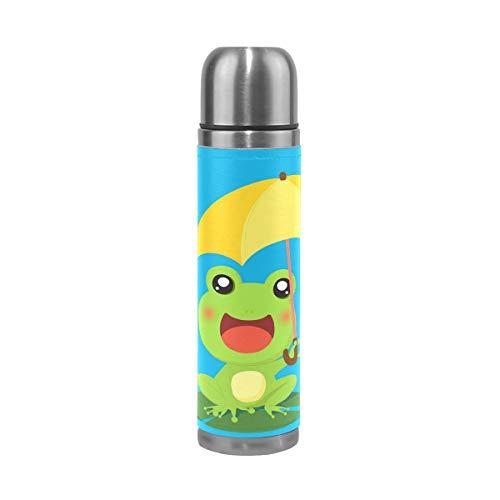 Eslifey Frosch mit Regenschirm, auslaufsicher, isoliert, doppeltes Vakuum, Edelstahl, Thermoskanne, 500 ml