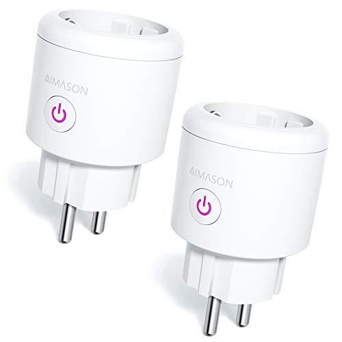 Smart WLAN Steckdosen, Aimason Alexa kleinste 16A Stecker Kein Hub erforderlich, Stromverbrauch messen Timer Funktion Fernsteurung Smart Home, Kompatibel mit Alexa Google Assistant, 2er Pack
