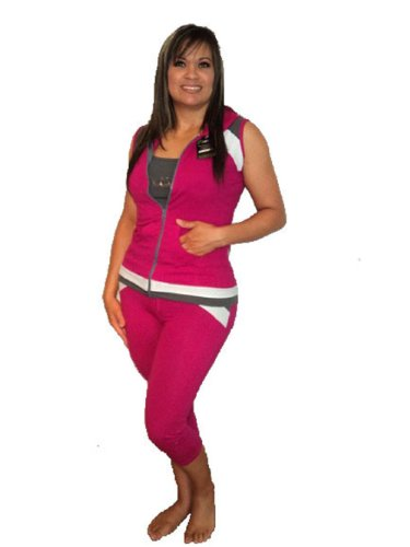 NAT 220228Women Sports & Gym Wear, Women Fitness & Yoga Wear, Ladies Fitness And Gym Clothing, Ladies Pilates & Sport Clothing–Capri 3Piece Set £ 35.99Up to 65% off, Magenta & Gray