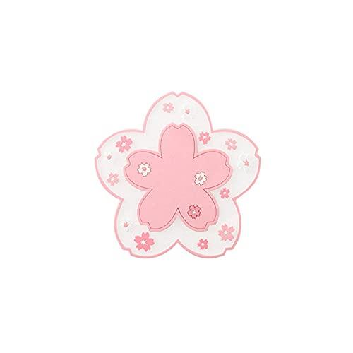 YYLI Posavasos 2 Piezas, Coaster Flexibles Sakura Tabla Del PVC Mat Copa Manteles Mats De Navidad Para Los Restaurantes Refractarios, Antideslizantes Y Resistentes Al Calor Suave Coasters,Rosado,Small